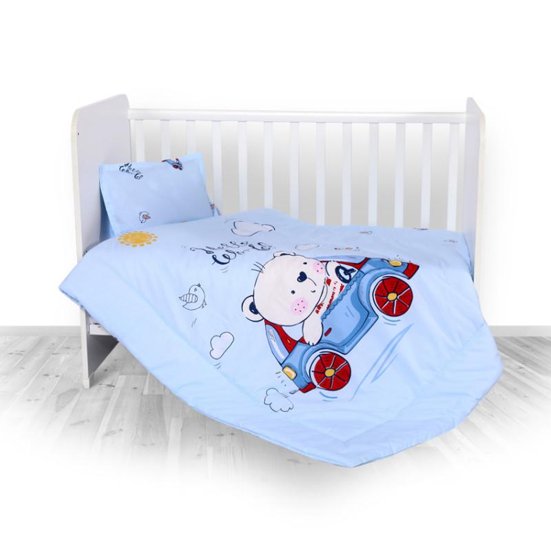 Спален комплект 3 части Ранфорс Мече с кола, синьо  246720