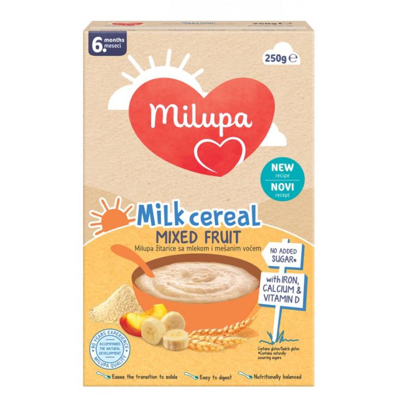 Milupa Млечна каша плодов микс, 6+ месеца, кутия 250 гр.  247731