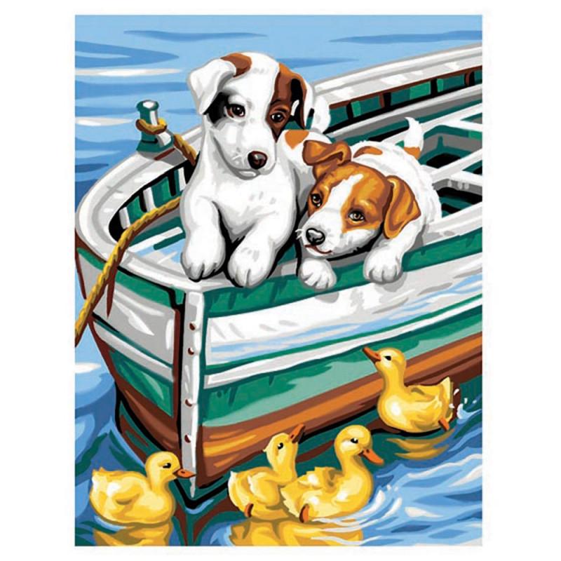 Рисуване по номера с акрилни бои - Кученца и патета  253052