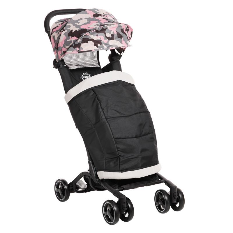 Лятна бебешка количка Luka с покривало за крачета, черна с камуфлаж  253377
