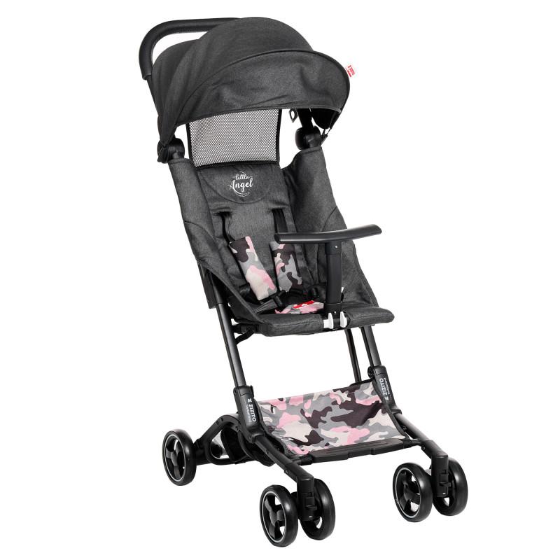 Лятна бебешка количка Luka, сива с камуфлаж  253389