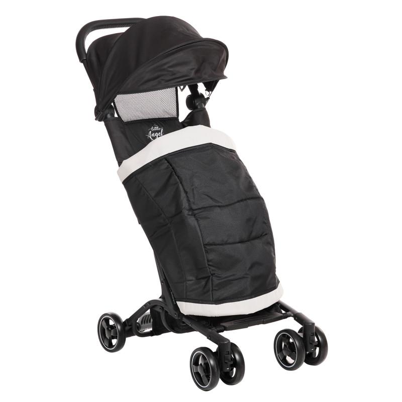 Лятна бебешка количка Luka с покривало за крачета, черна  253433