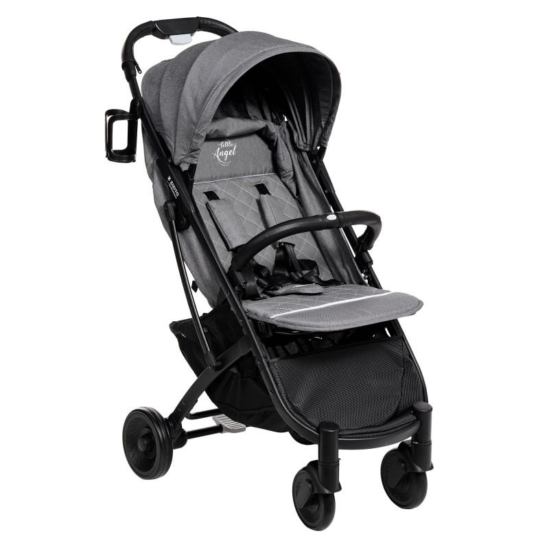 Лятна бебешка количка Sandra с покривало за крачета, сива  253492