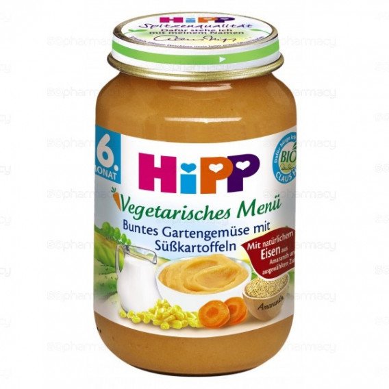 Био вегетарианско пюре от градински зеленчуци със сладки картофи, 6+ месеца, бурканче 190 гр. Hipp 25547