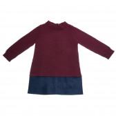 Двуцветна плетена рокля с дълъг ръкав и полуполо Benetton 25975