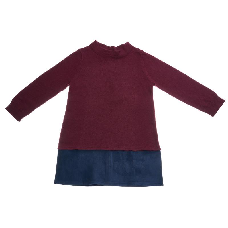 Двуцветна плетена рокля с дълъг ръкав и полуполо  25975