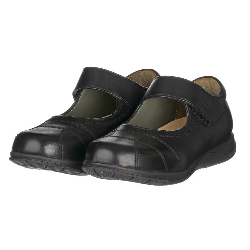 Кожени обувки балеринки с декоративни шевове, черни  261058