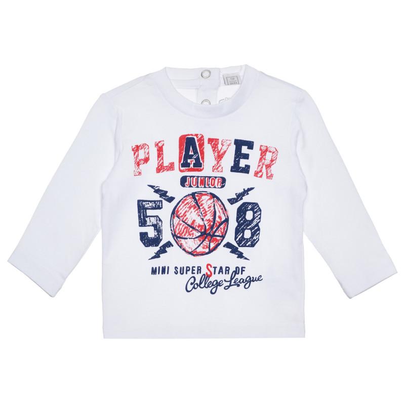 Памучна блуза PLAYER 508 за бебе , бяла  266347