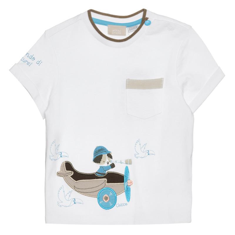 Памучна тениска за бебе , бяла  266359