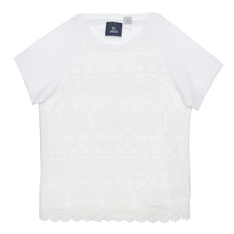 Памучна тениска с бродерия, бяла  266363