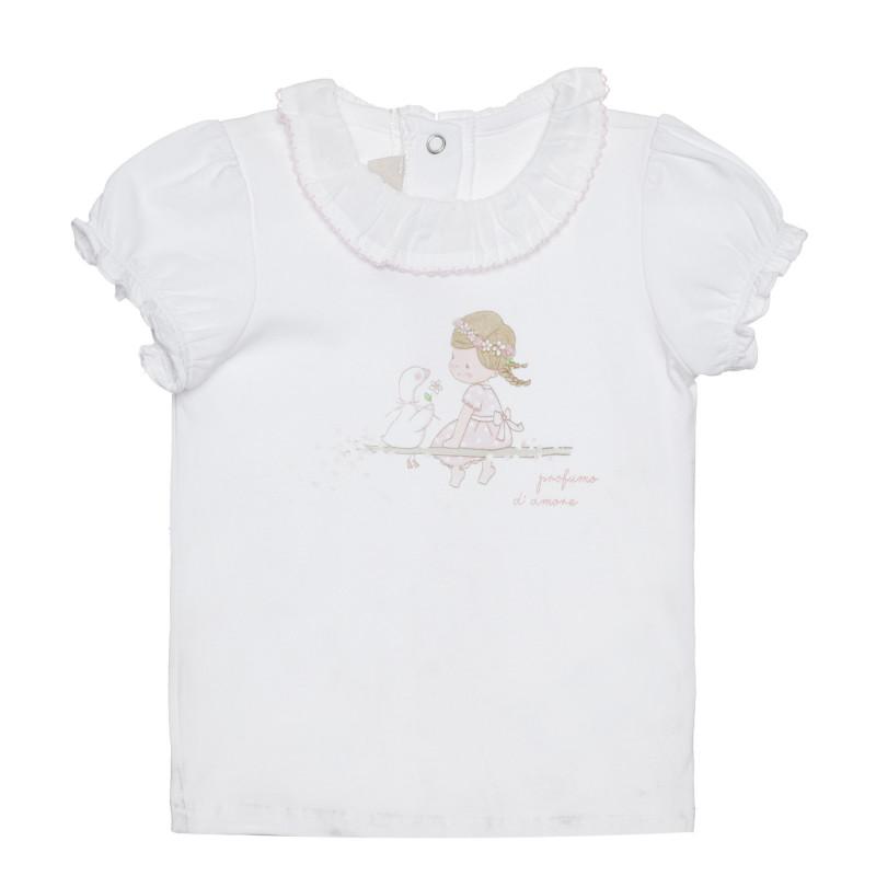 Памучна тениска за бебе, бяла  266367