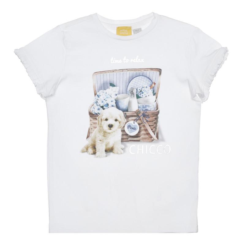 Памучна тениска с кученце , бяла  266371