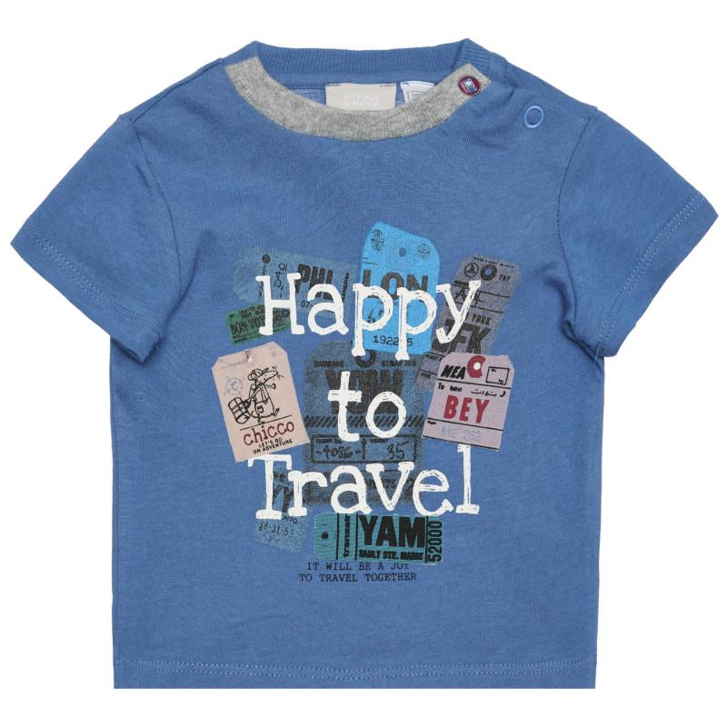 Памучна тениска HAPPY TO TRAVEL за бебе, синя  266383