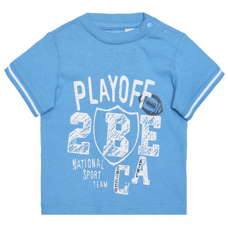 Памучна тениска PLAY OFF за бебе , синя  266387