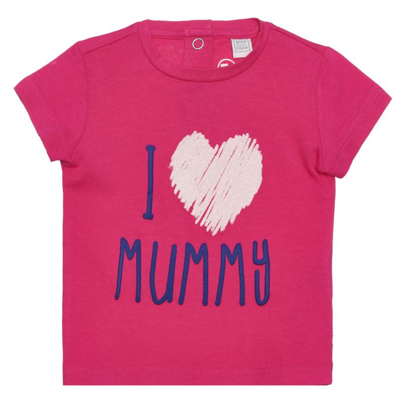 Памучна тениска I LOVE MUMMY за бебе, розова  266391