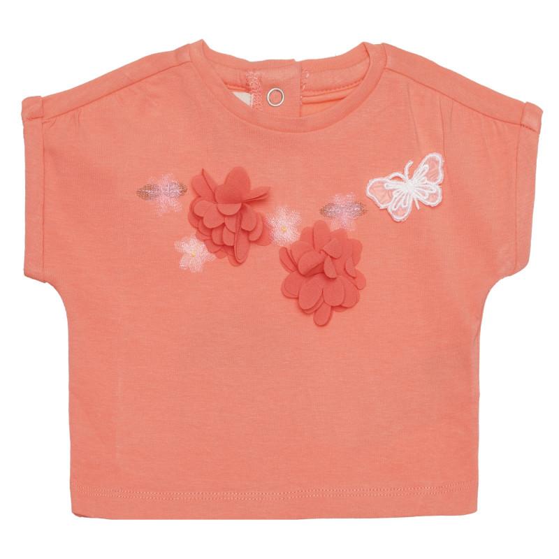 Памучна тениска с пеперуда, розова  266399
