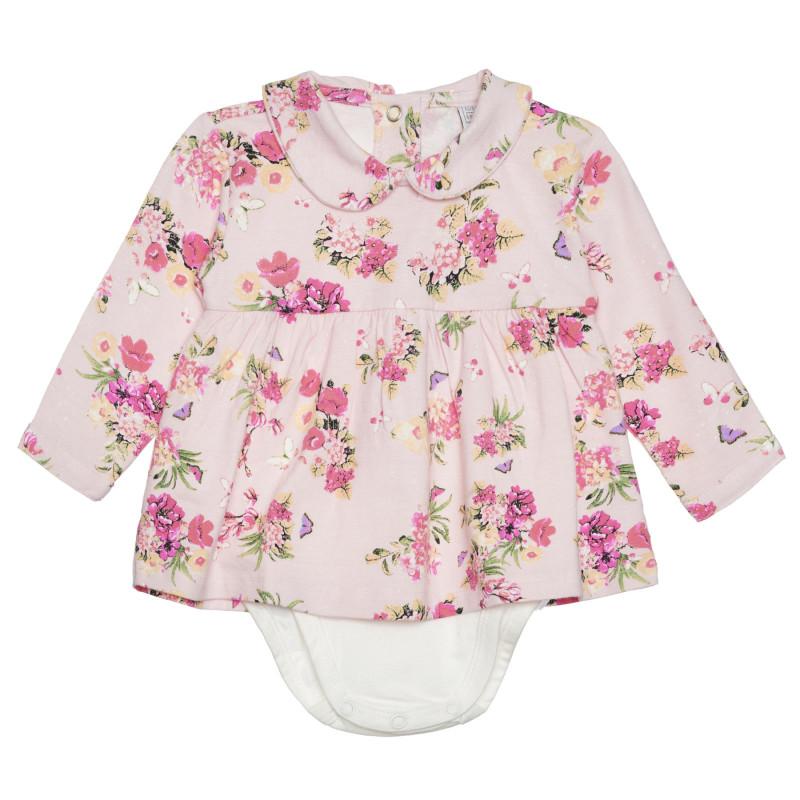 Памучно боди с флорални мотиви за бебе, розово  266410