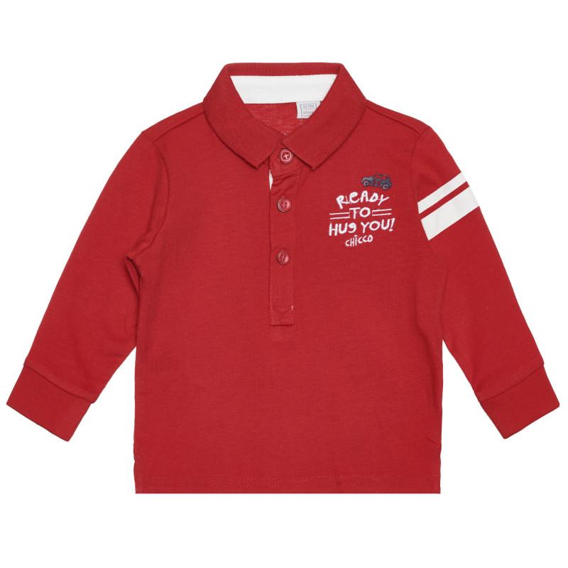 Памучна блуза с яка за бебе, червена  266418