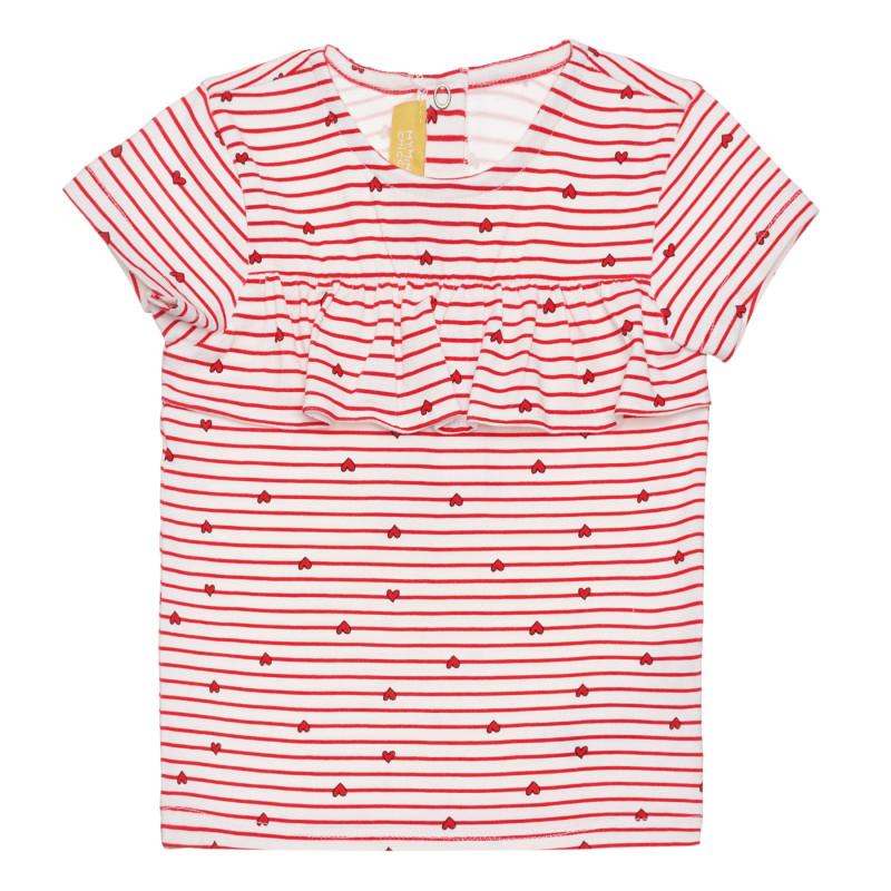 Памучна раирана тениска със сърца за бебе  266442