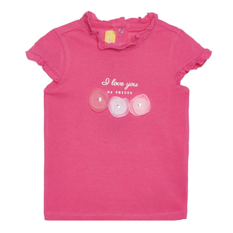 Памучна тениска I LOVE YOU за бебе, розова  266446