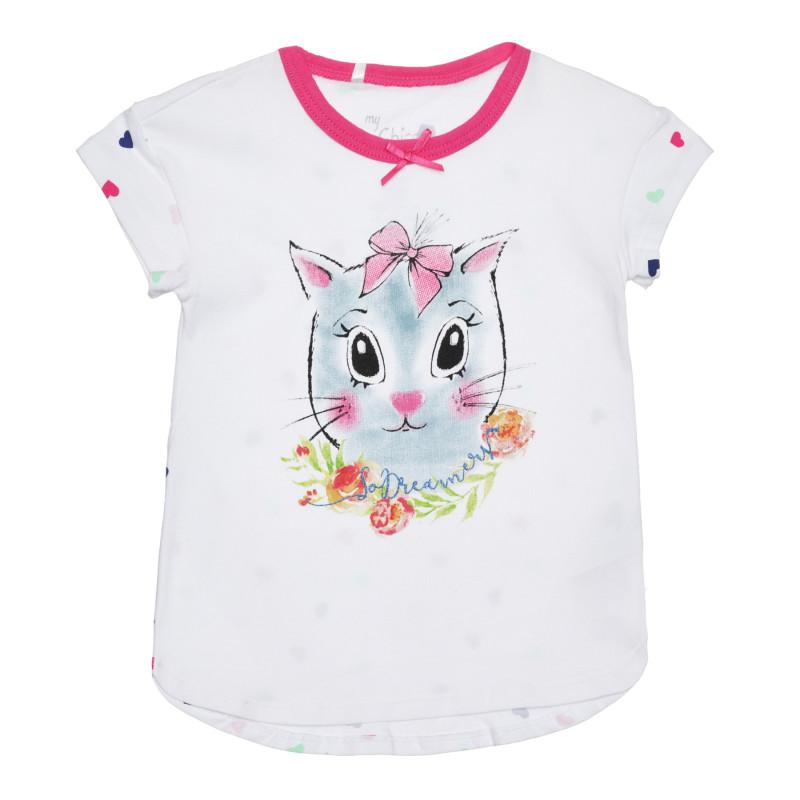 Памучна тениска с коте за бебе, бяла  266785