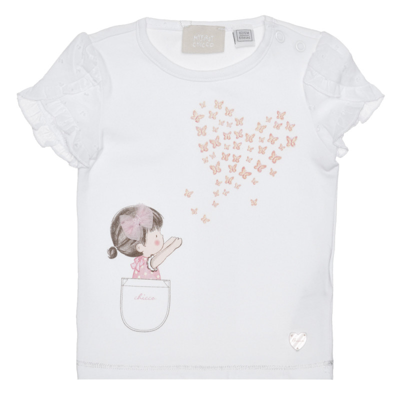 Памучна тениска с графичен принт за бебе, бяла  266800