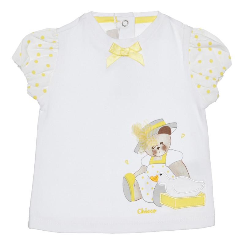 Памучна тениска с мече за бебе в бяло и жълто  266823
