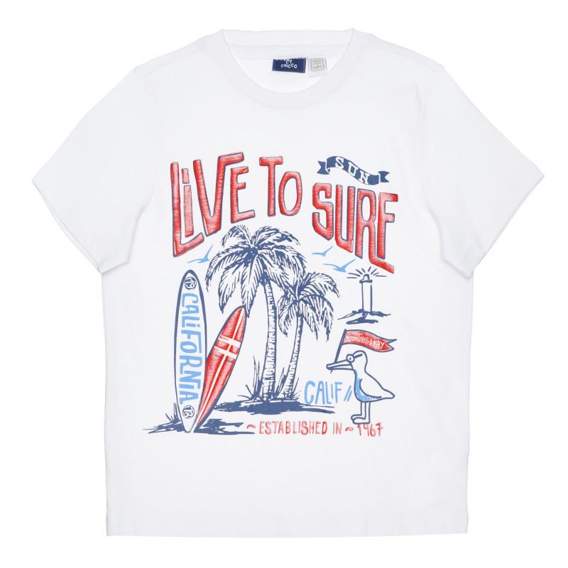 Памучна тениска LIVE TO SURF, бяла  266838