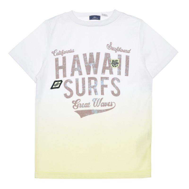 Памучна тениска HAWAII SURFS в бяло и зелено  266845