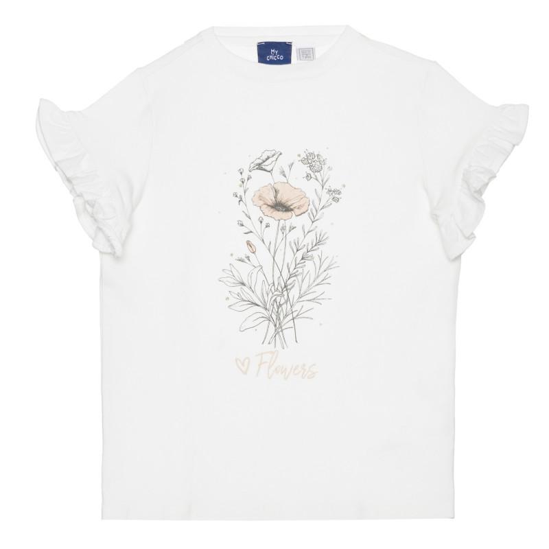 Памучна тениска с цветя, бяла  266872