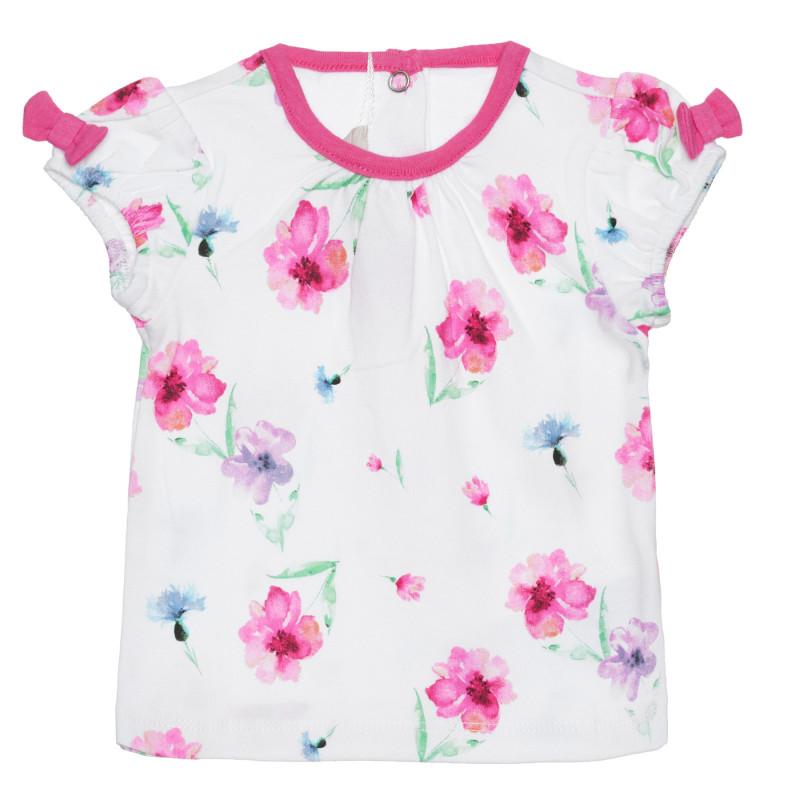 Памучна тениска с флорален принт за бебе, бяла  266884
