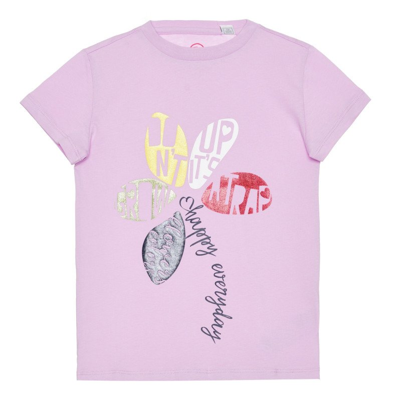 Памучна тениска с цвете, лилава  266892