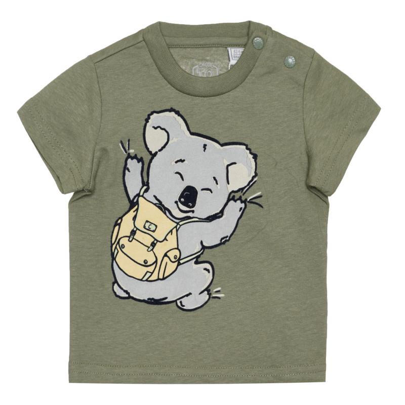 Памучна тениска с коала за бебе, зелена  266904