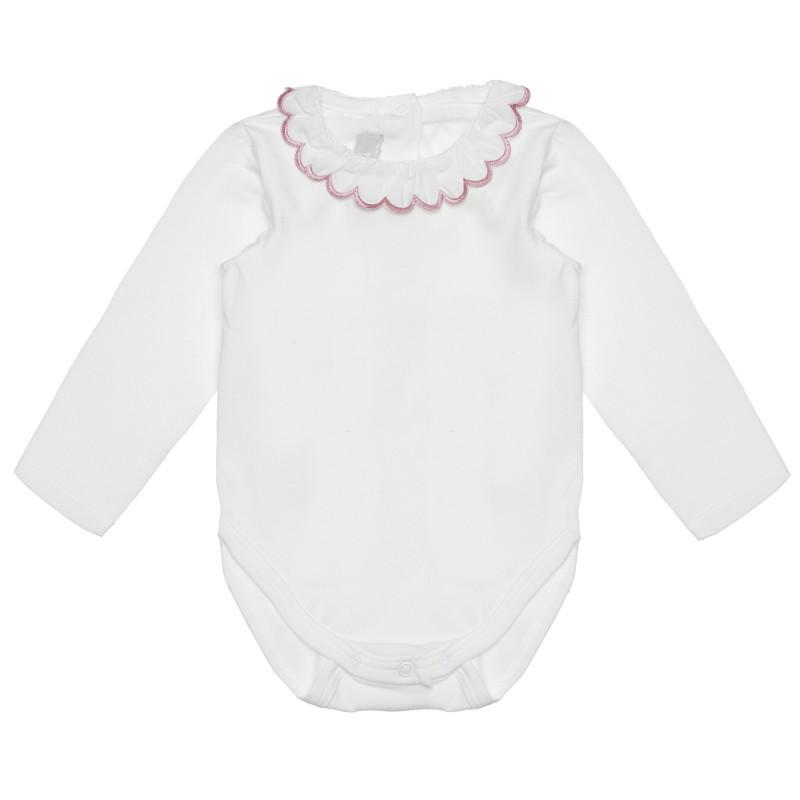 Памучно боди с къдрава яка за бебе, бяло  266924