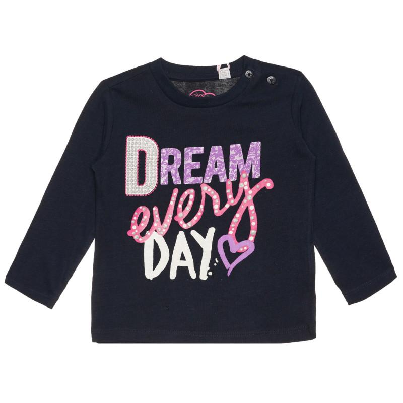 Памучна блуза DREAM EVERY DAY за бебе, синя  266955