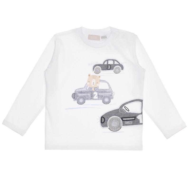 Памучна блуза CARS за бебе, бяла  267000