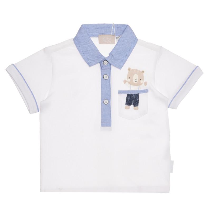 Памучна тениска с яка за бебе в бяло и синьо  267012