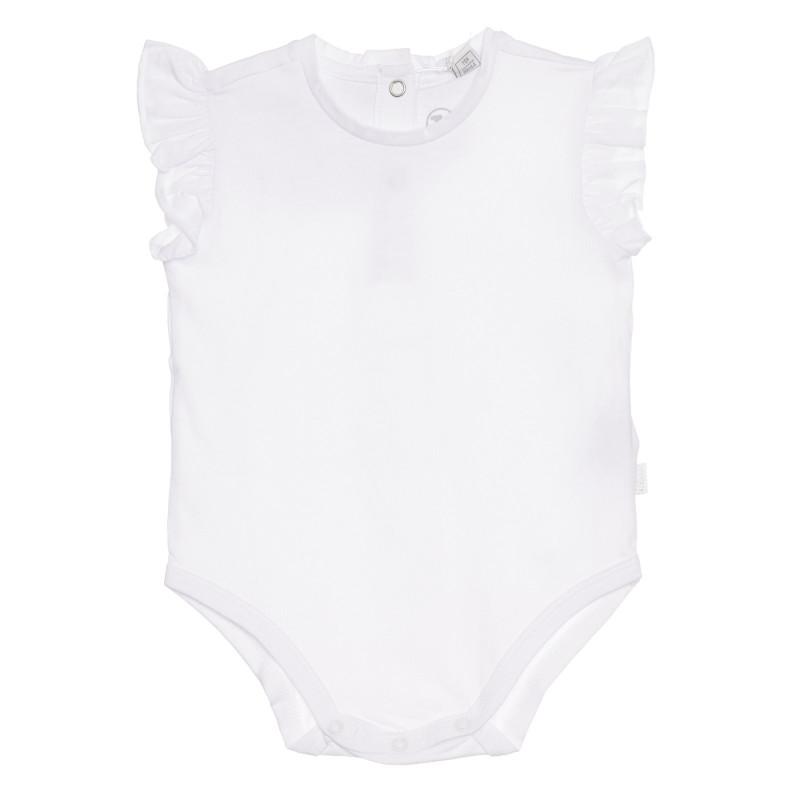 Памучно боди с къдрички на ръкавите за бебе, бяло  267016