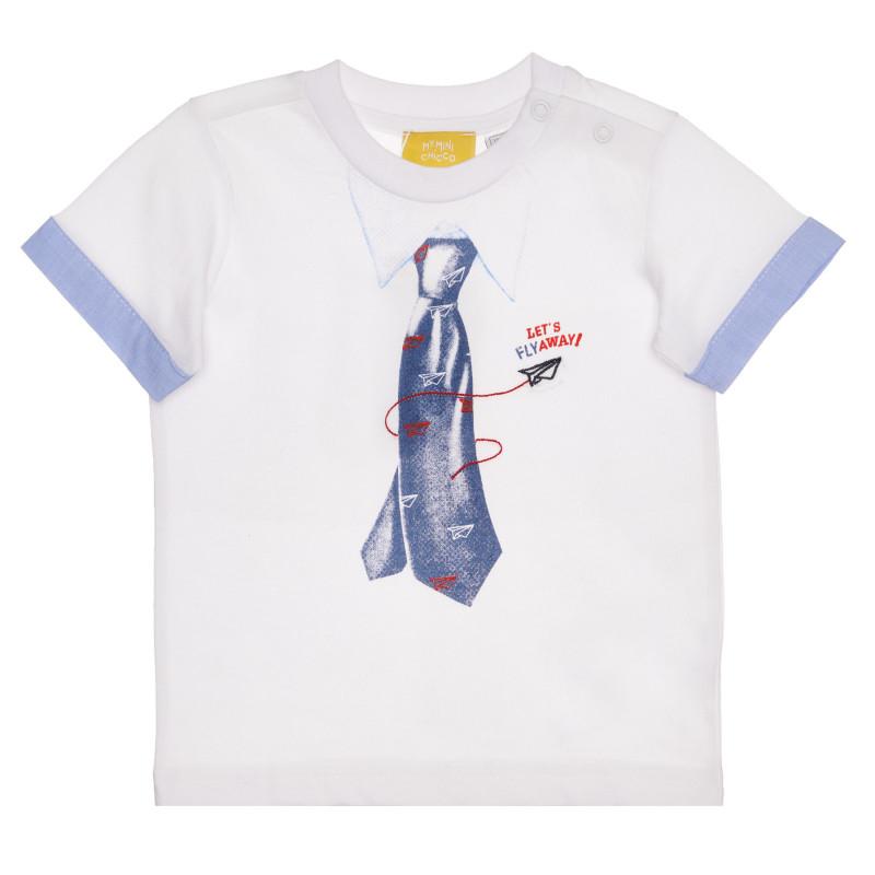 Памучна тениска с интересен дизайн за бебе, бяла  267028