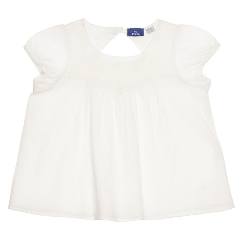 Памучна блуза с къс ръкав и бродерия, бяла  267052