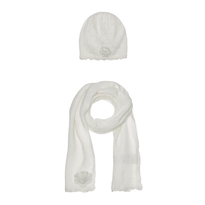 Комплект шал и шапка за бебе, бели  267071