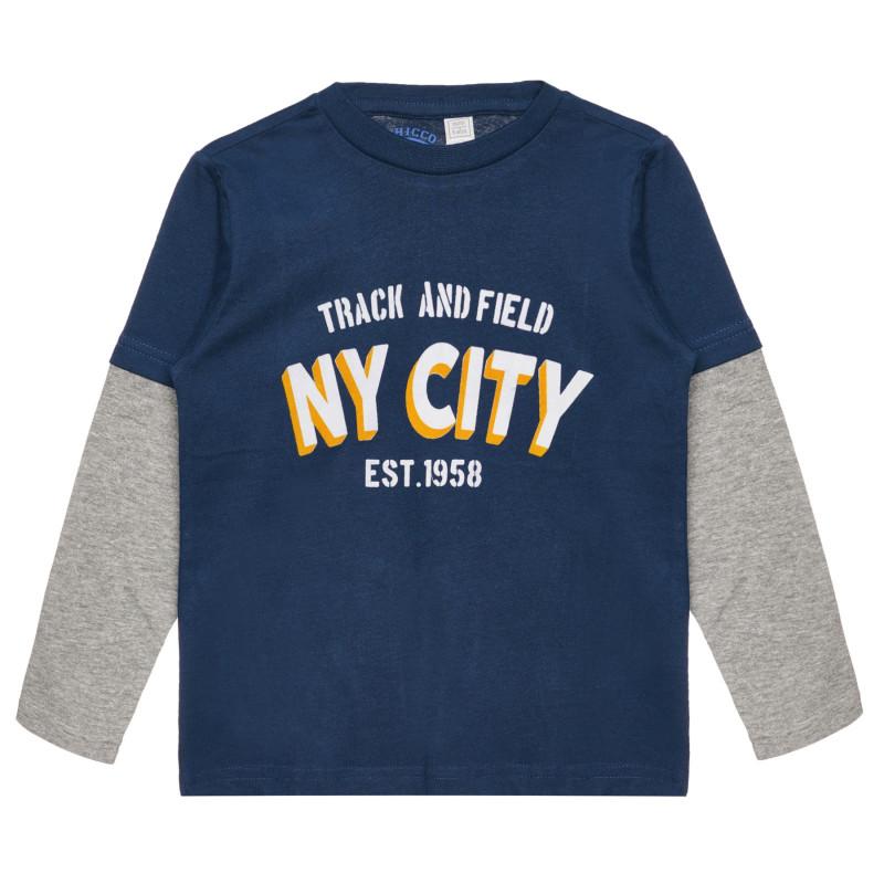 Памучна блуза NY CITY , синя  267095
