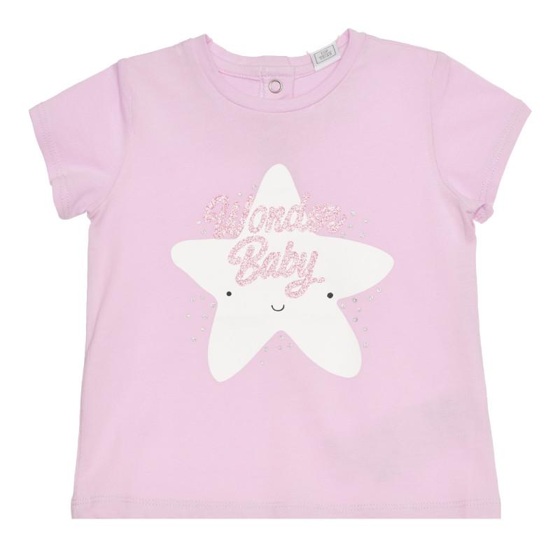 Памучна тениска WONDER BABY за бебе, лилава  267114