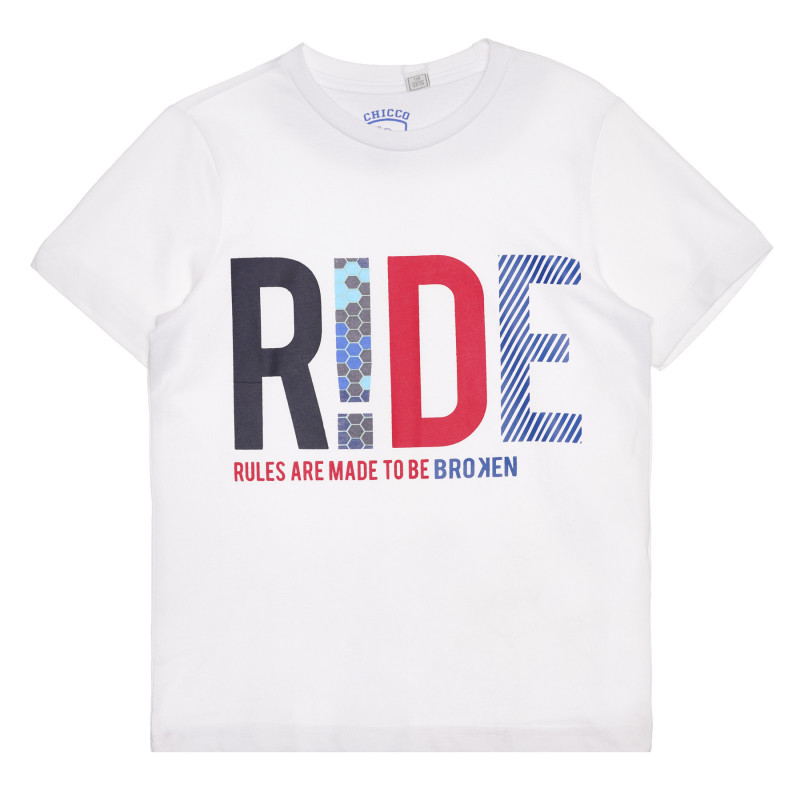 Памучна тениска RIDE, бяла  267118