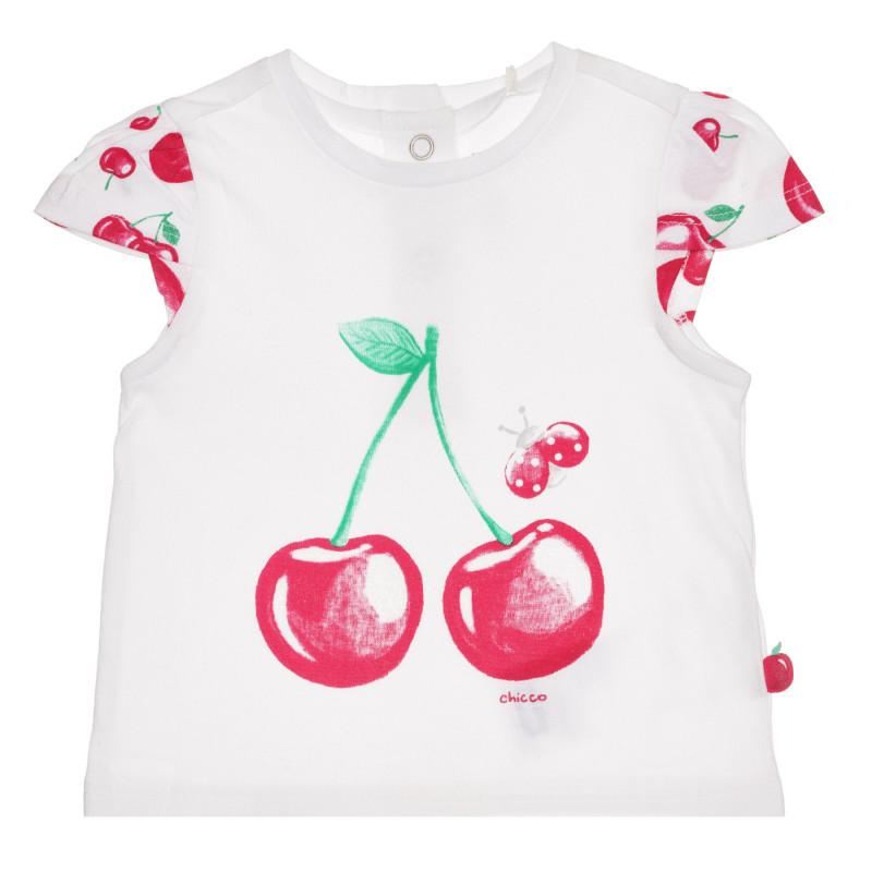 Памучна тениска с череши за бебе, бяла  267122