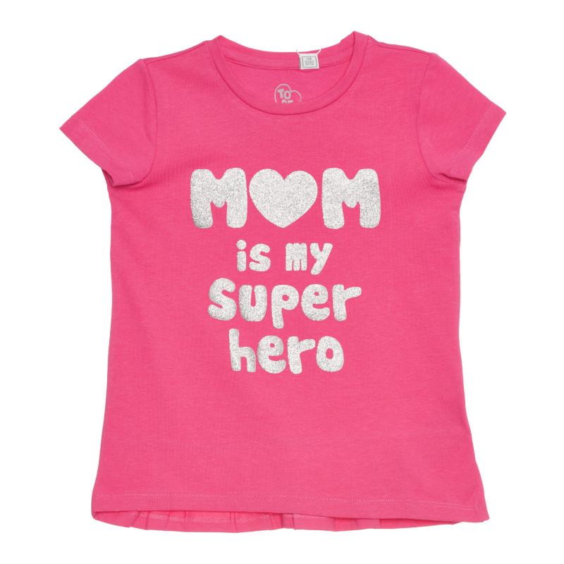 Памучна тениска MOM IS MY SUPERHERO, розова  267126