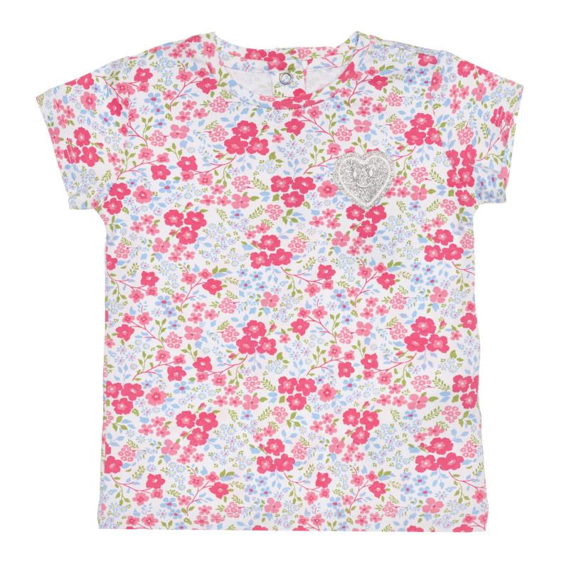Памучна тениска с флорални мотиви за бебе  267134