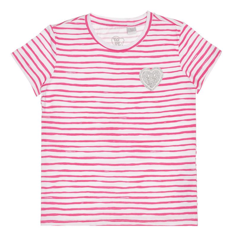 Памучна раирана тениска със сърце за бебе  267138