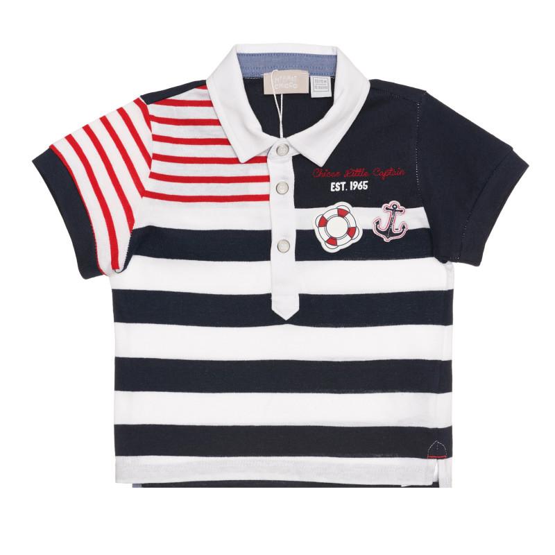 Памучна раирана тениска с морски мотиви за бебе, синя  267152