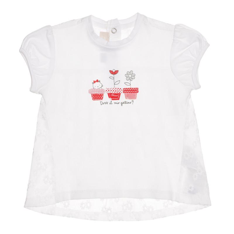 Памучна тениска с декорация за бебе, бяла  267163